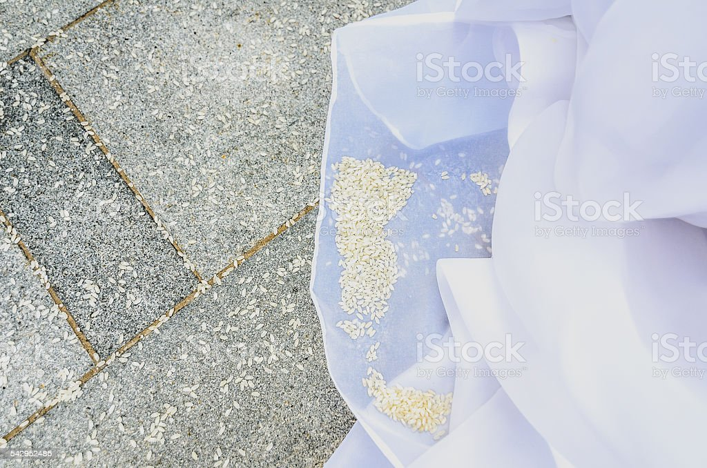 Detail of brides wedding dress with rice on the floor. stock photo