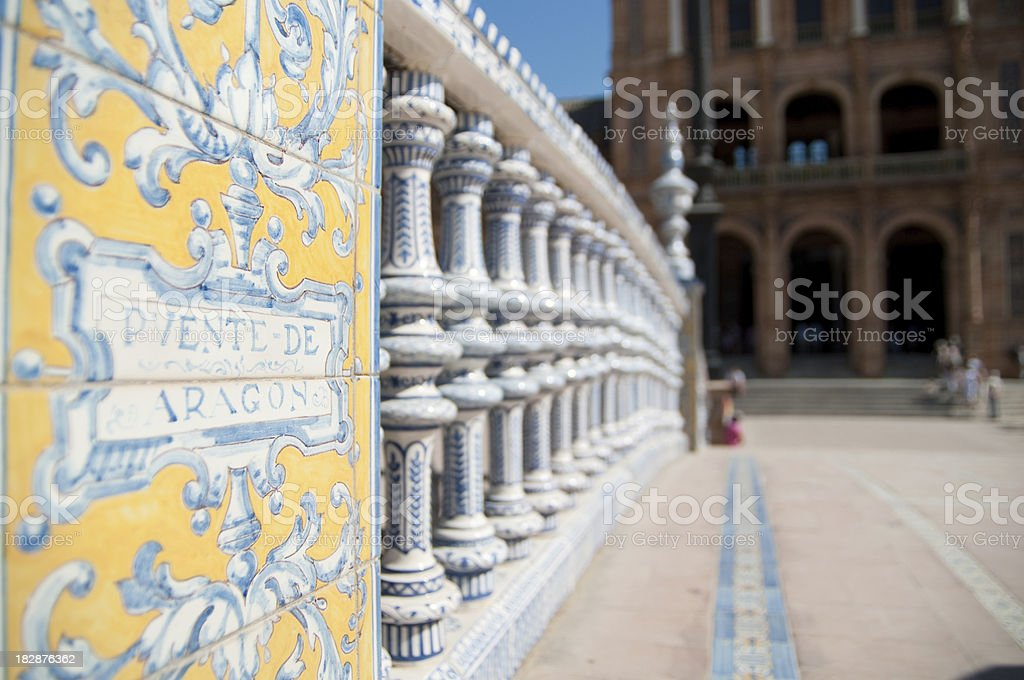 Detail of bridge in Plaza de Espana Seville royalty-free stock photo