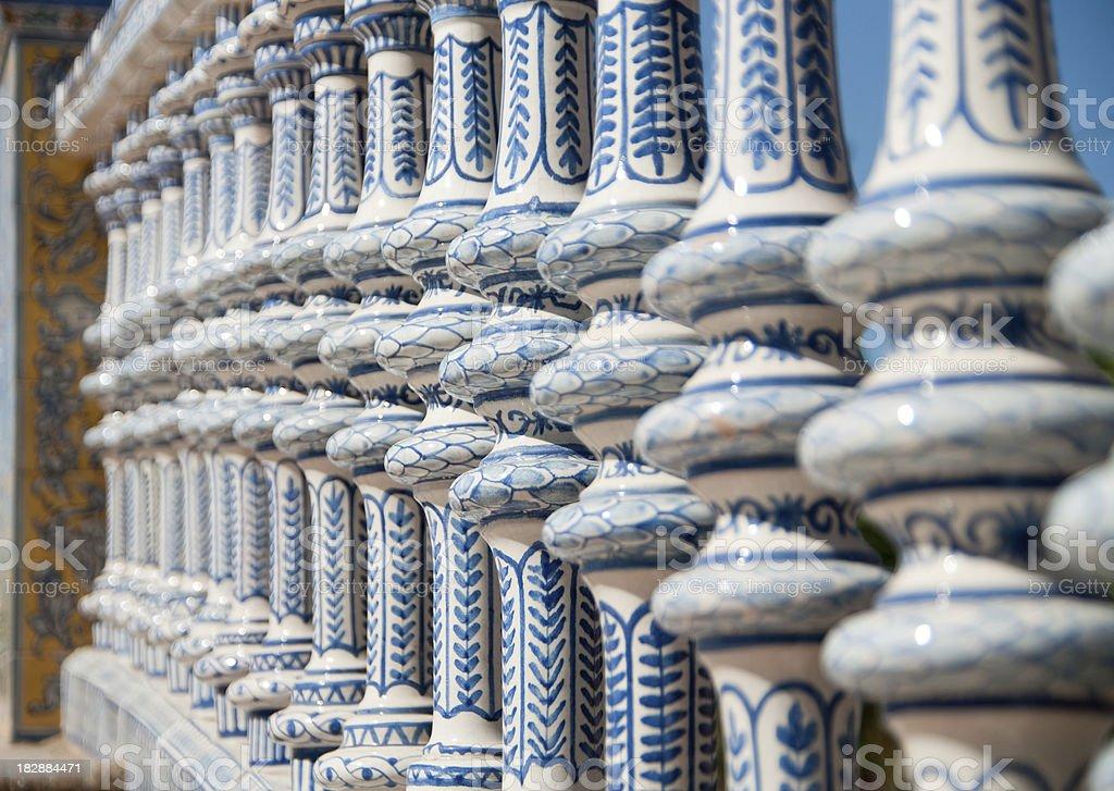Detail of bridge in Seville at the Plaza de Espana royalty-free stock photo