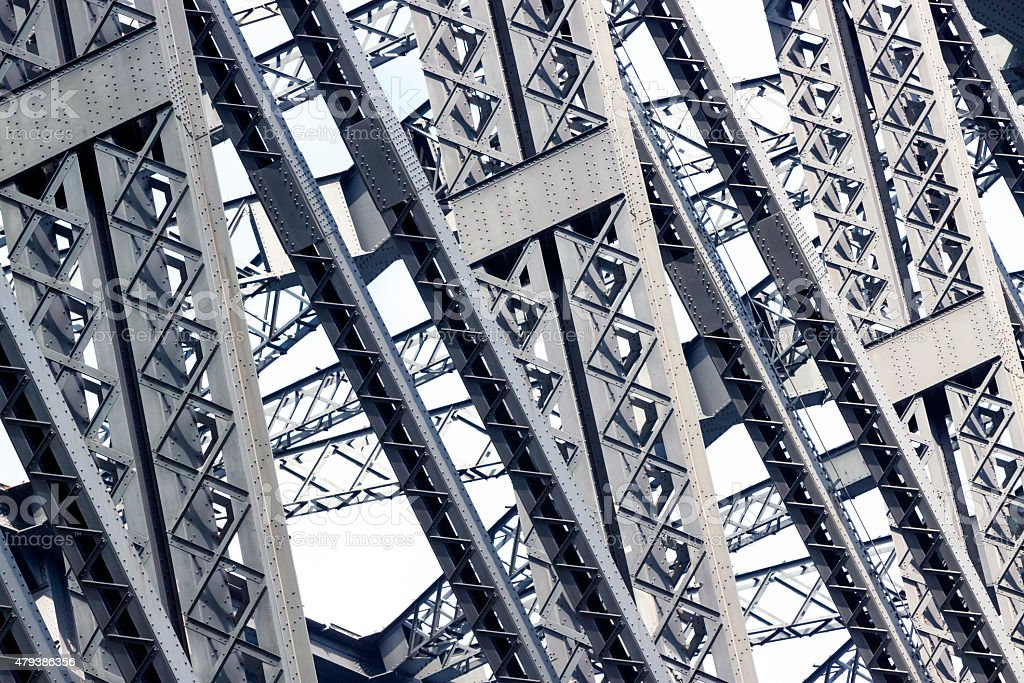 Detail of bridge steel structure with gigantic support beams stock photo