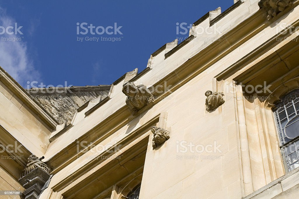 Detail of building in Merton College, Oxford stock photo