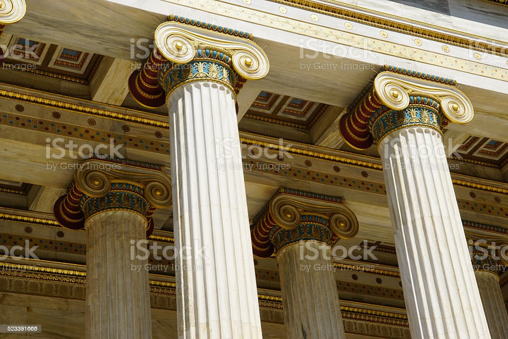 Detail of building of the modern Academy of Athens stock photo