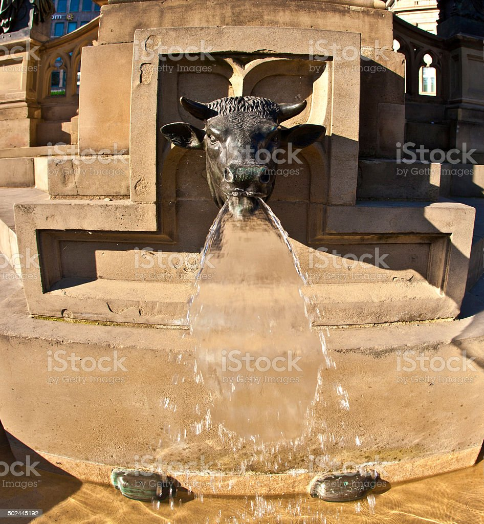 detail of bull as water spout stock photo