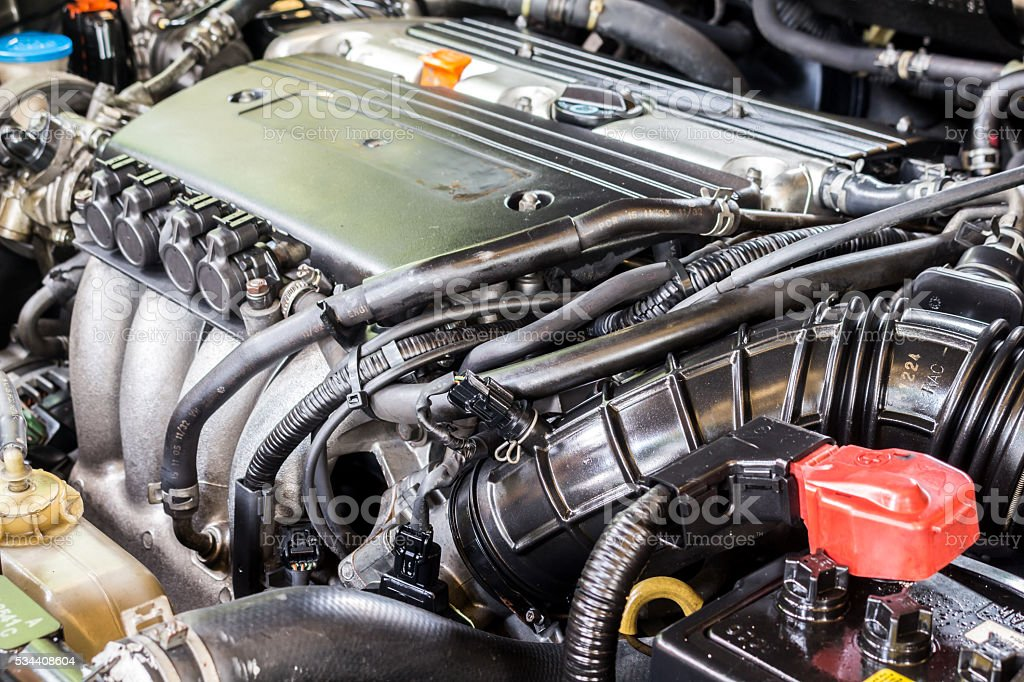 Detail of car engine stock photo