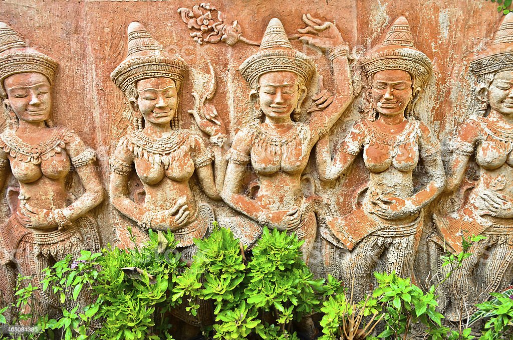 detail of carvings in angkor thom,UNESCO world heritage,cambodia stock photo