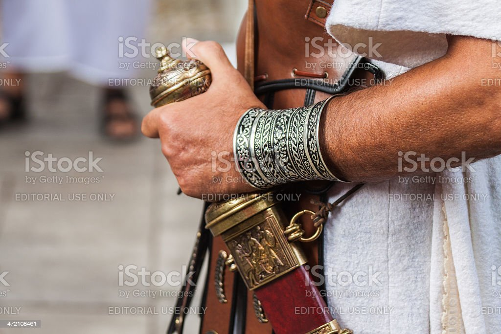 Detail of Centurion Roman soldier carrying a gladius stock photo