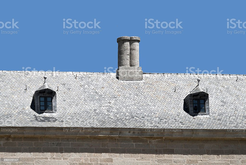 Detail of chimney and windows stock photo