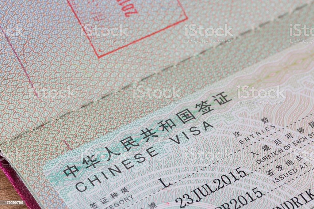 Detail of Chinese Visa stock photo
