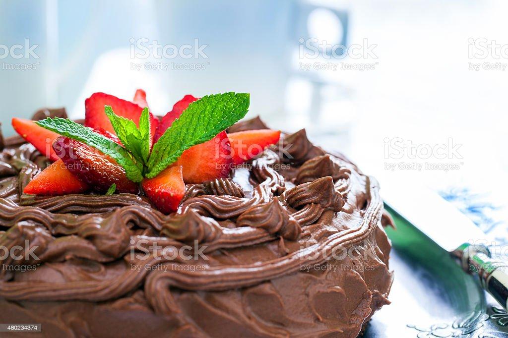 Détail de gâteau au chocolat. photo libre de droits