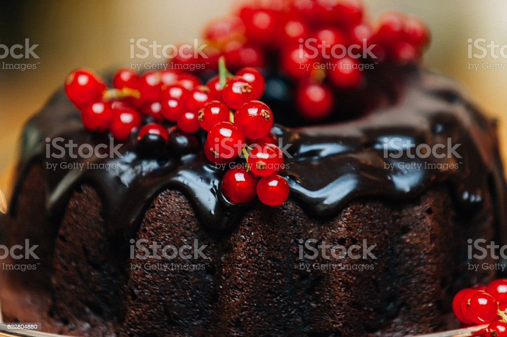 Detail of Chocolate Cake With Red Current stock photo