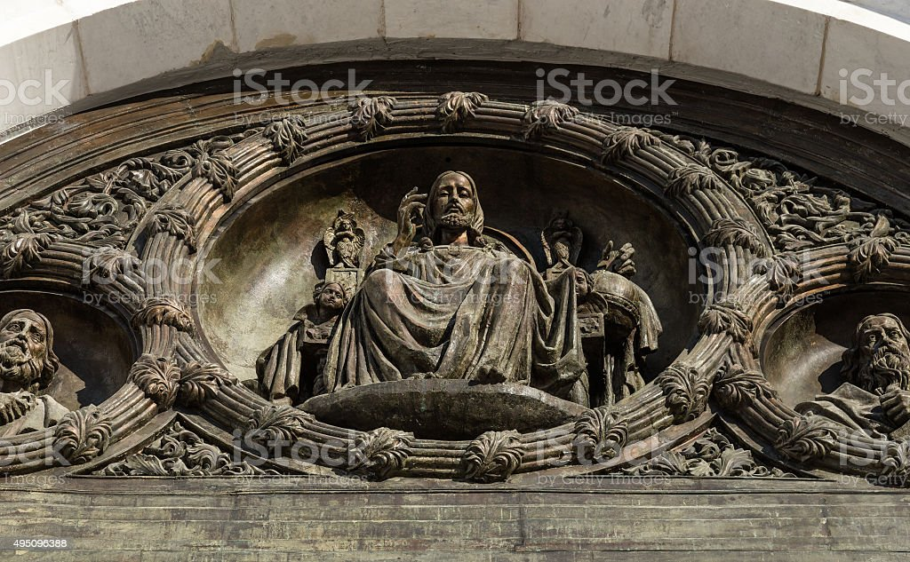 Detail of Christ the Savior cathedral in Moscow stock photo