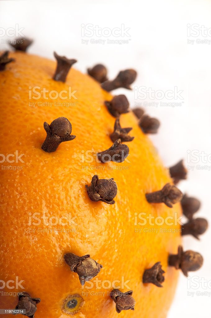 Detail of Christmas pomander showing cloves stuck into an orange. stock photo
