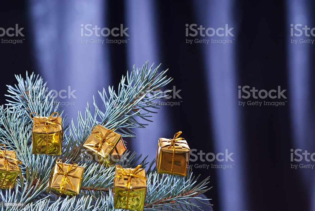 Detail of Christmas twig with Christmas decoration stock photo