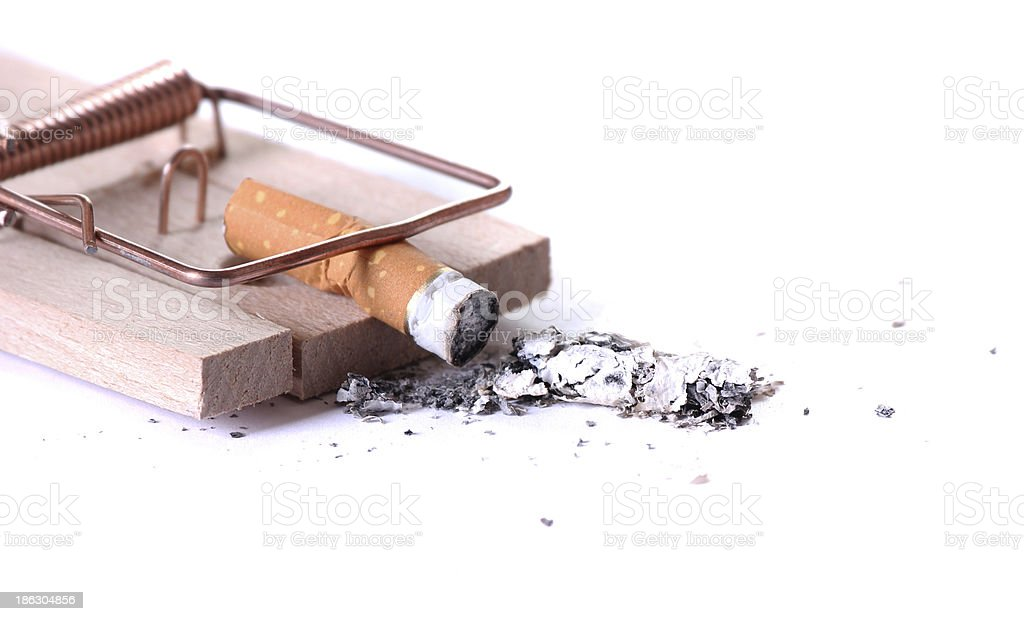 detail of cigarette on mousetrap stock photo