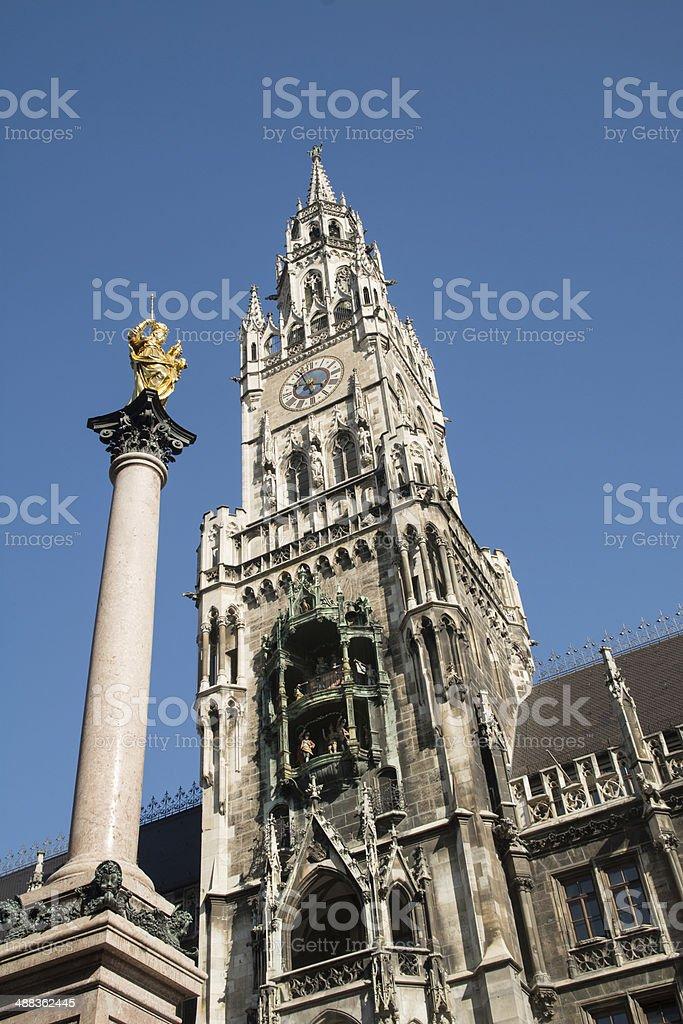 Detail of City house of Munich at the Marienplatz stock photo