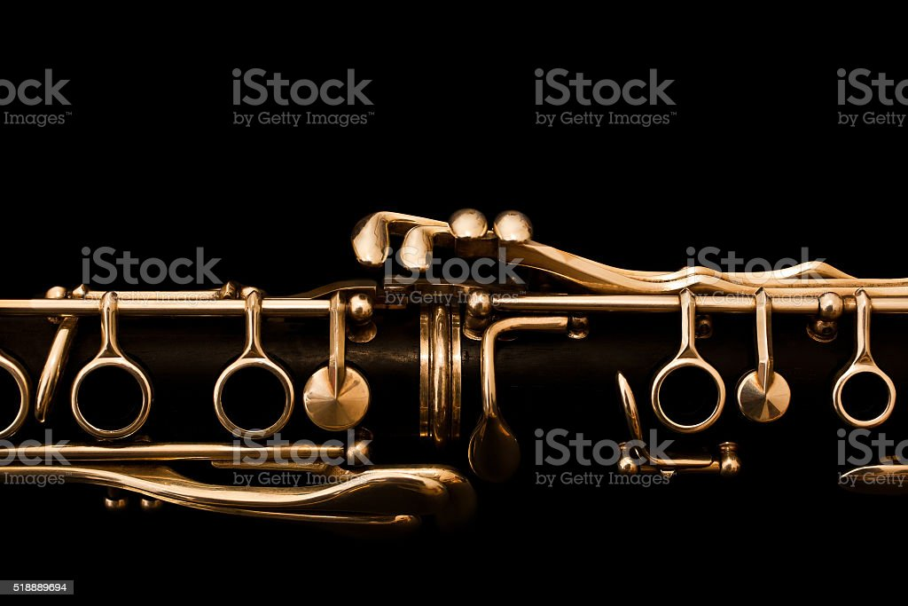 Detail of clarinet on black background stock photo