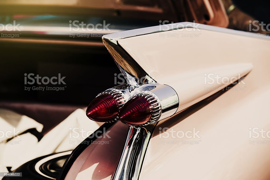 Detail of classic american car. Backlight close up. stock photo