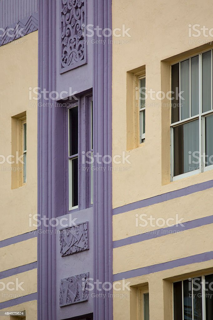 Detail of classical art deco facade on Ocean drive stock photo