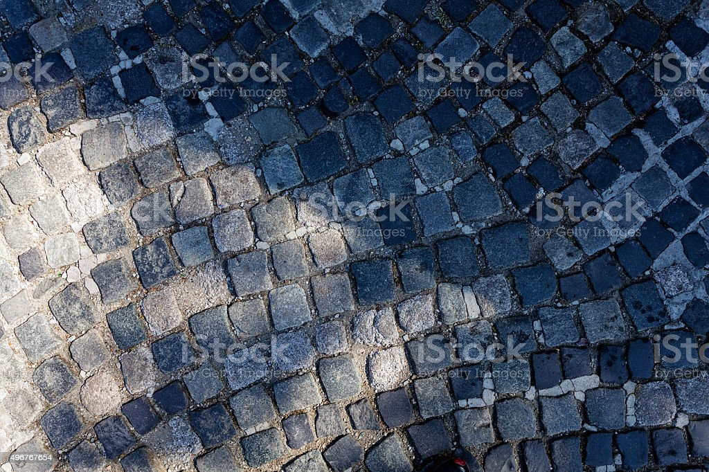 detail of cobblestone path stock photo