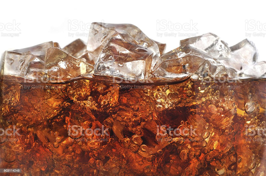 Detail of Cold Bubbly Carbonated Soft Drink with Ice stock photo