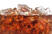 Detail of Cold Bubbly Carbonated Soft Drink with Ice