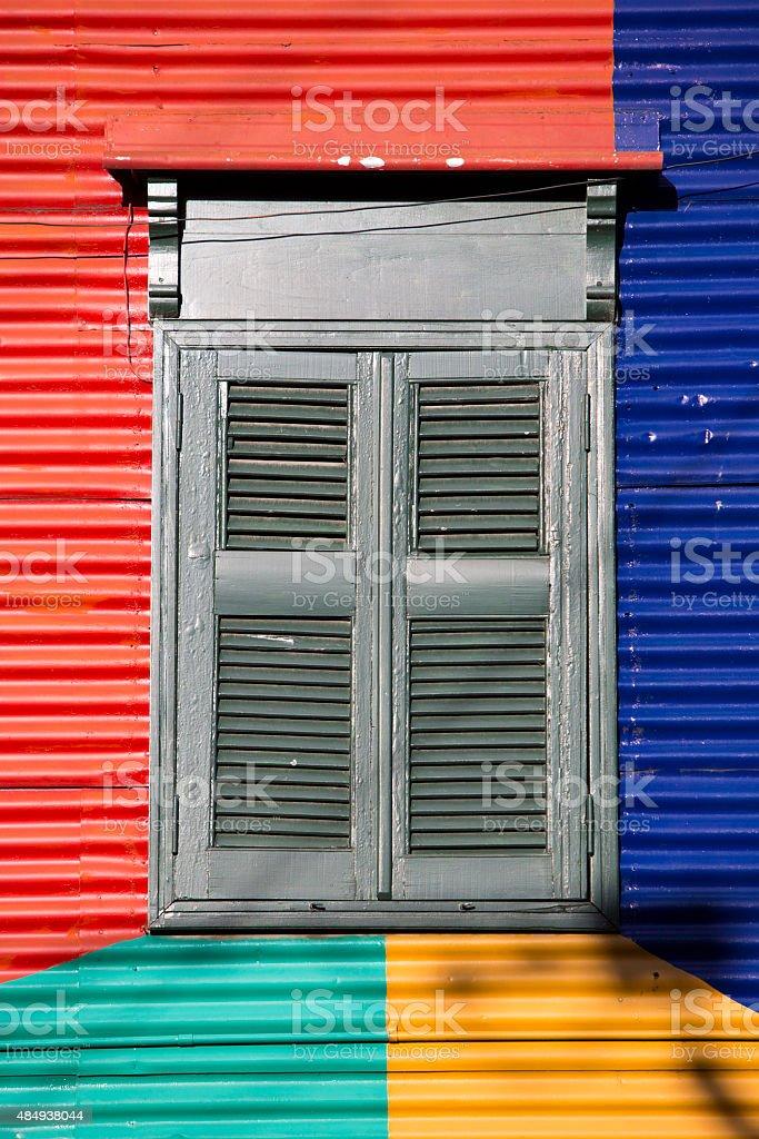 Detail of colored architecture in La Bocca stock photo