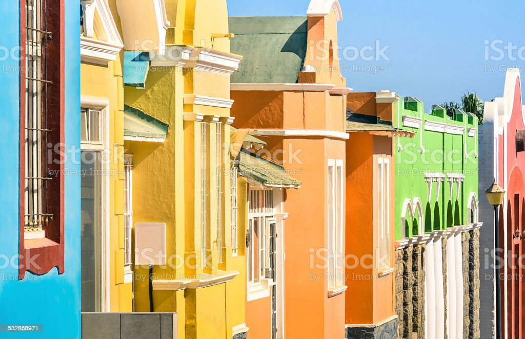 Detail of colorful houses in Luderitz in Namibia stock photo