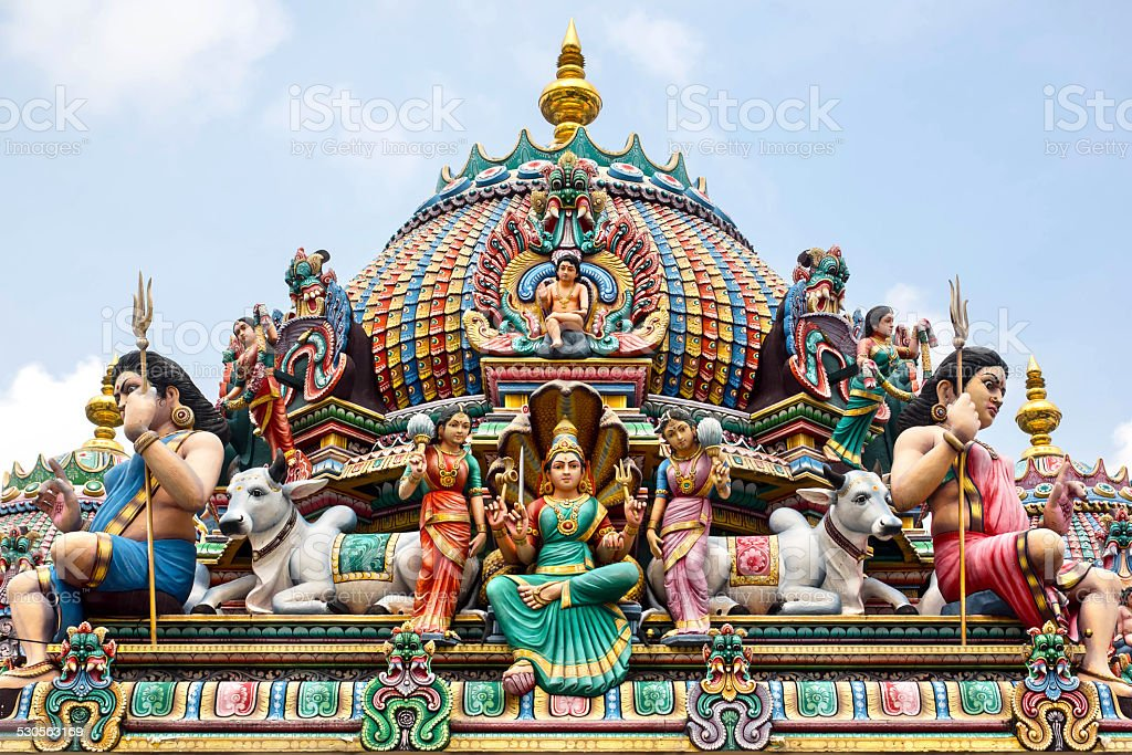 Detail of Colorful Sri Mariamman Temple in Singapore stock photo