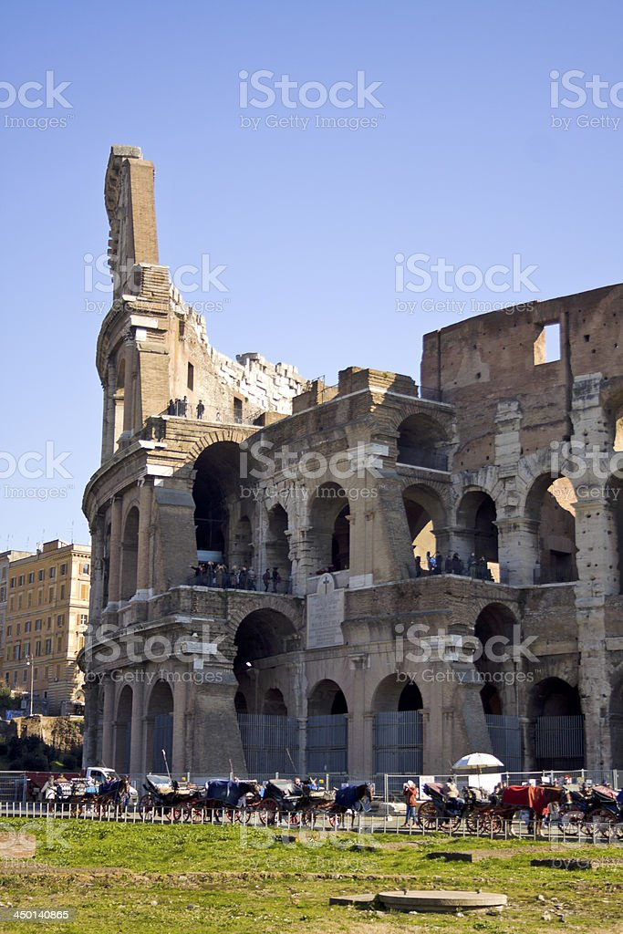 Detail of Colosseum in Rome, Italy royalty-free stock photo