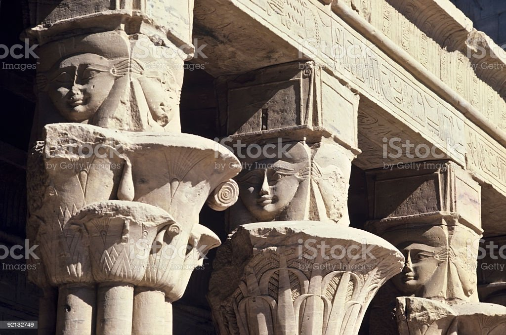 Detail of Columns at Philae Temple Egypt stock photo