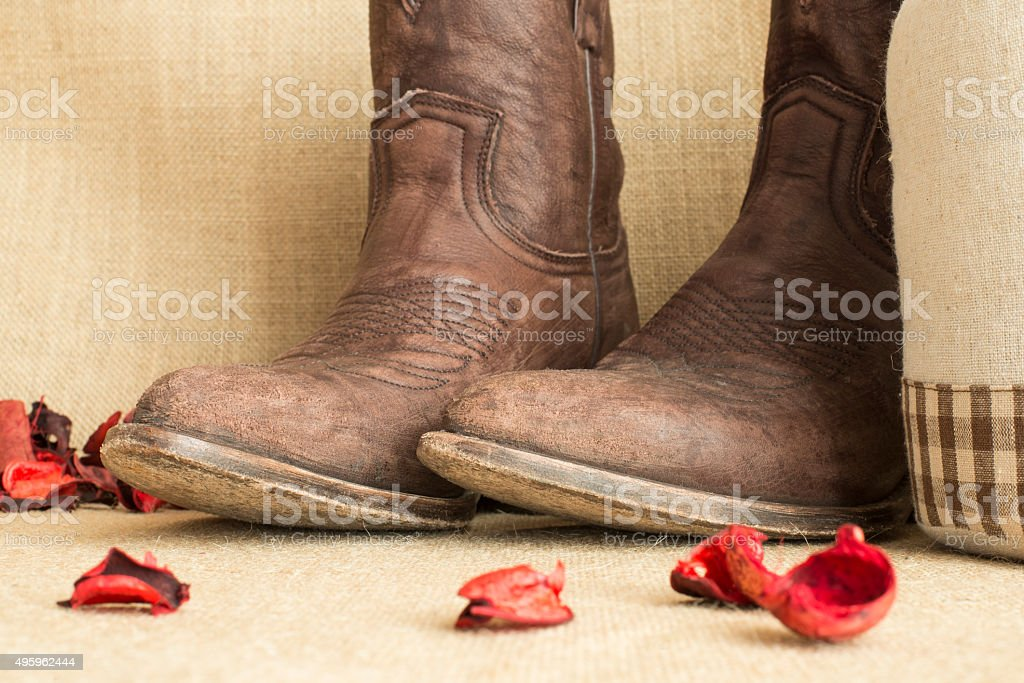 detail of cowboy boots stock photo