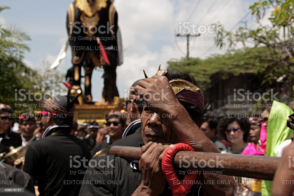 Detail of cremation ceremony in Ubud, Bali stock photo