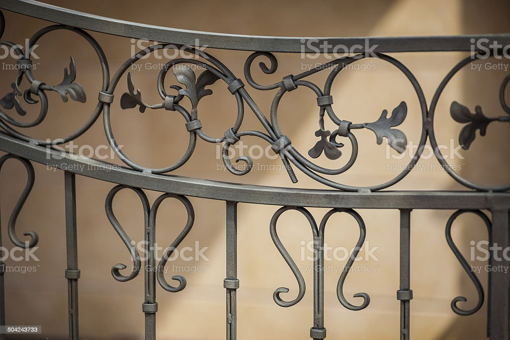Detail of decorative metal fence stock photo