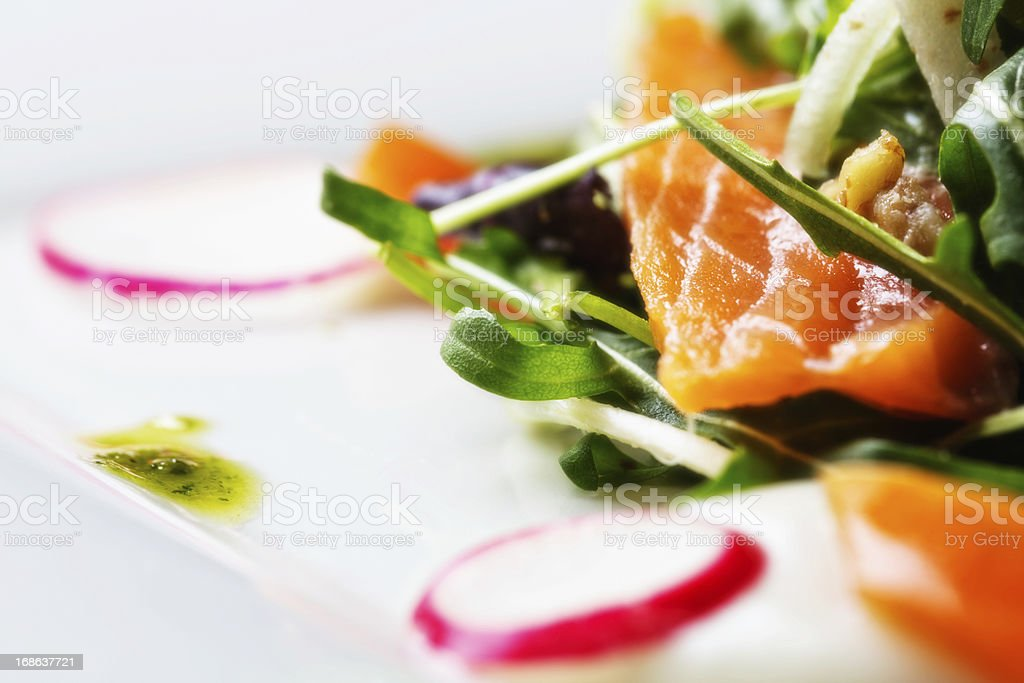 Detail of delicious smoked salmon salad royalty-free stock photo