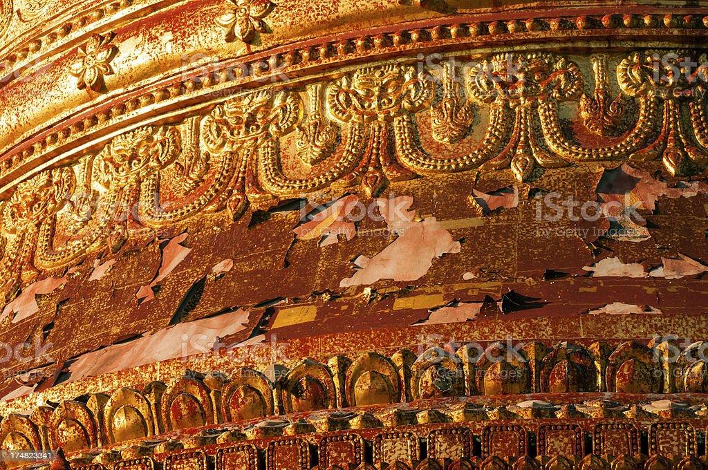 Detail of Dhammayazika Paya in Bagan, Myanmar royalty-free stock photo