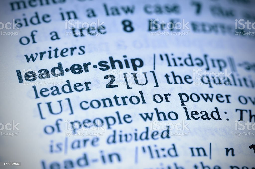 Detail of dictionary definition of leadership royalty-free stock photo