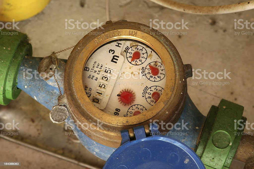 Detail of dirty and dusty european water meter without trademarks royalty-free stock photo