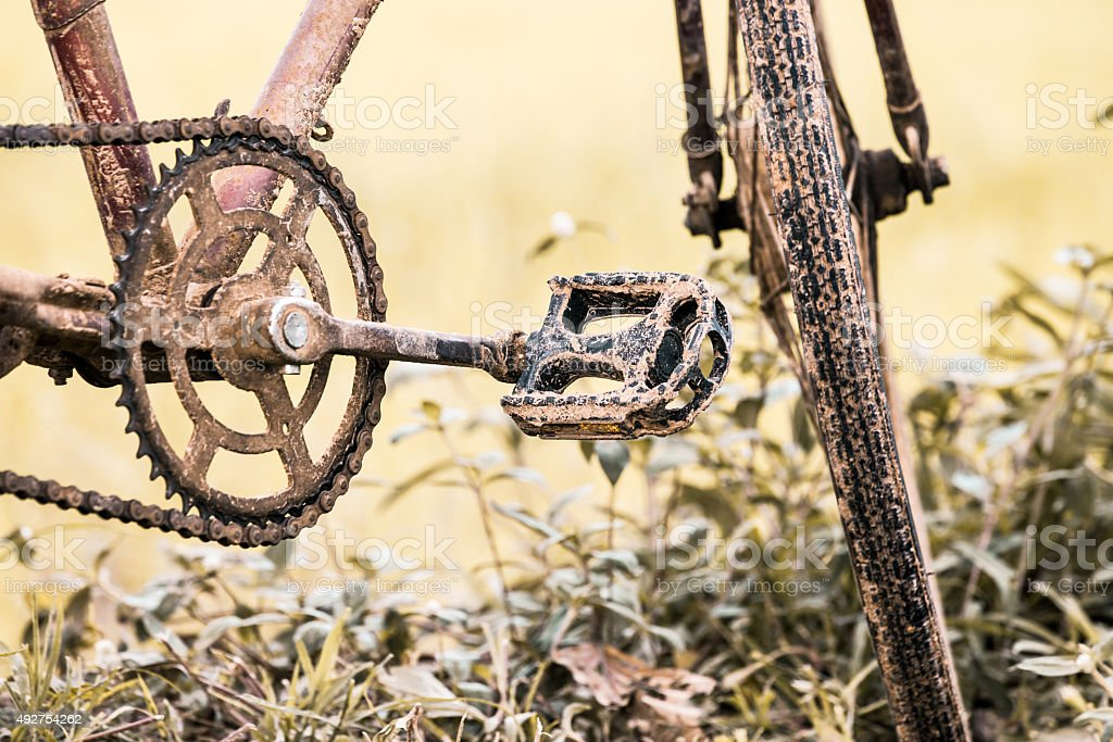 detail of dirty old bicycle in the rice field stock photo