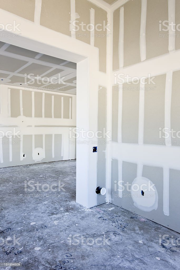 Detail of Drywall Construction  Interior royalty-free stock photo