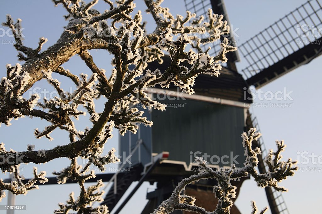 Detail of dutch traditional windmill stock photo