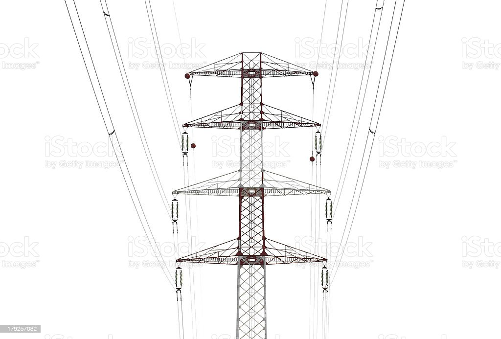 Detail of electricity pylon against royalty-free stock photo