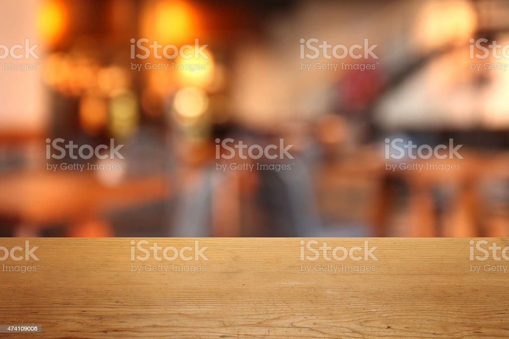 Detail of empty table in a restaurant, defocused background stock photo