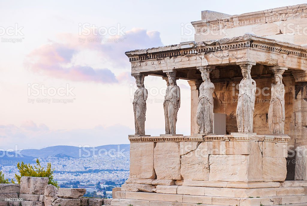 Detail of Erechtheion in Acropolis of Athens, Greece stock photo