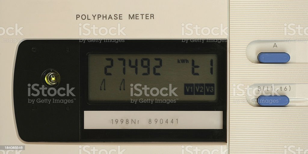 Detail of European electricity meter (trademarks removed and code altered) stock photo