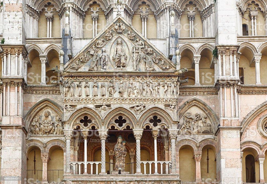 Detail of facade of Ferrara Cathedral (Emilia-Romagna, Italy) stock photo