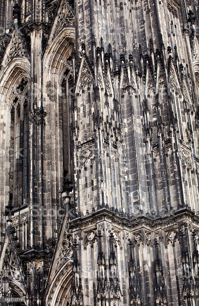 Detail of facade of Koeln cathedral dedicated to three kings stock photo