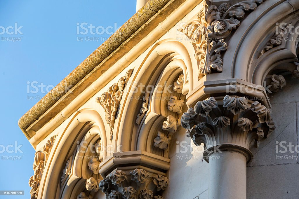 Detail of facade of the Cuenca's Cathedral, Cuenca, Spain stock photo