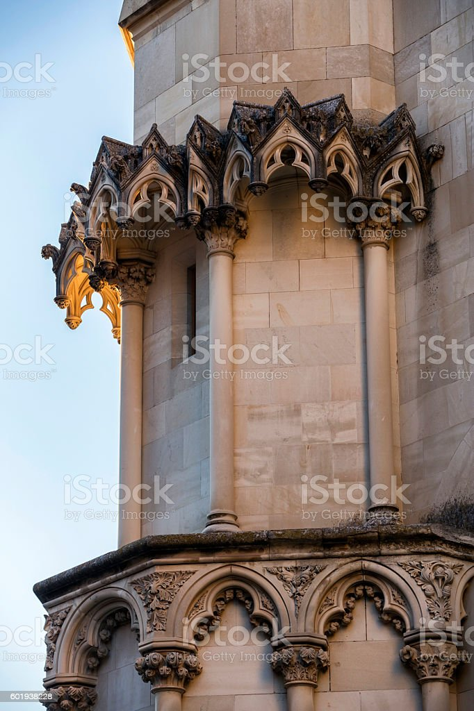 Detail of facade of the Cuenca's Cathedral, Spain stock photo