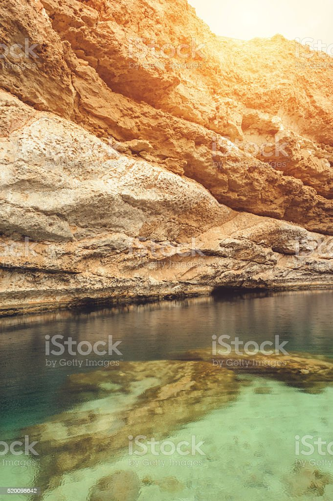 Detail of famous Oman Sinkhole stock photo