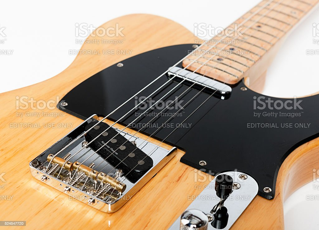 Detail of Fender Telecaster electric guitar stock photo